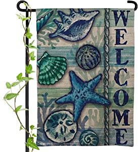 Cokosoxo Welcome Beach Garden Flag Starfish Shell Tropical Ocean House Yard Flags for Outside Coastal Nautical Sea Home House Lawn Patio Outdoor Decorations