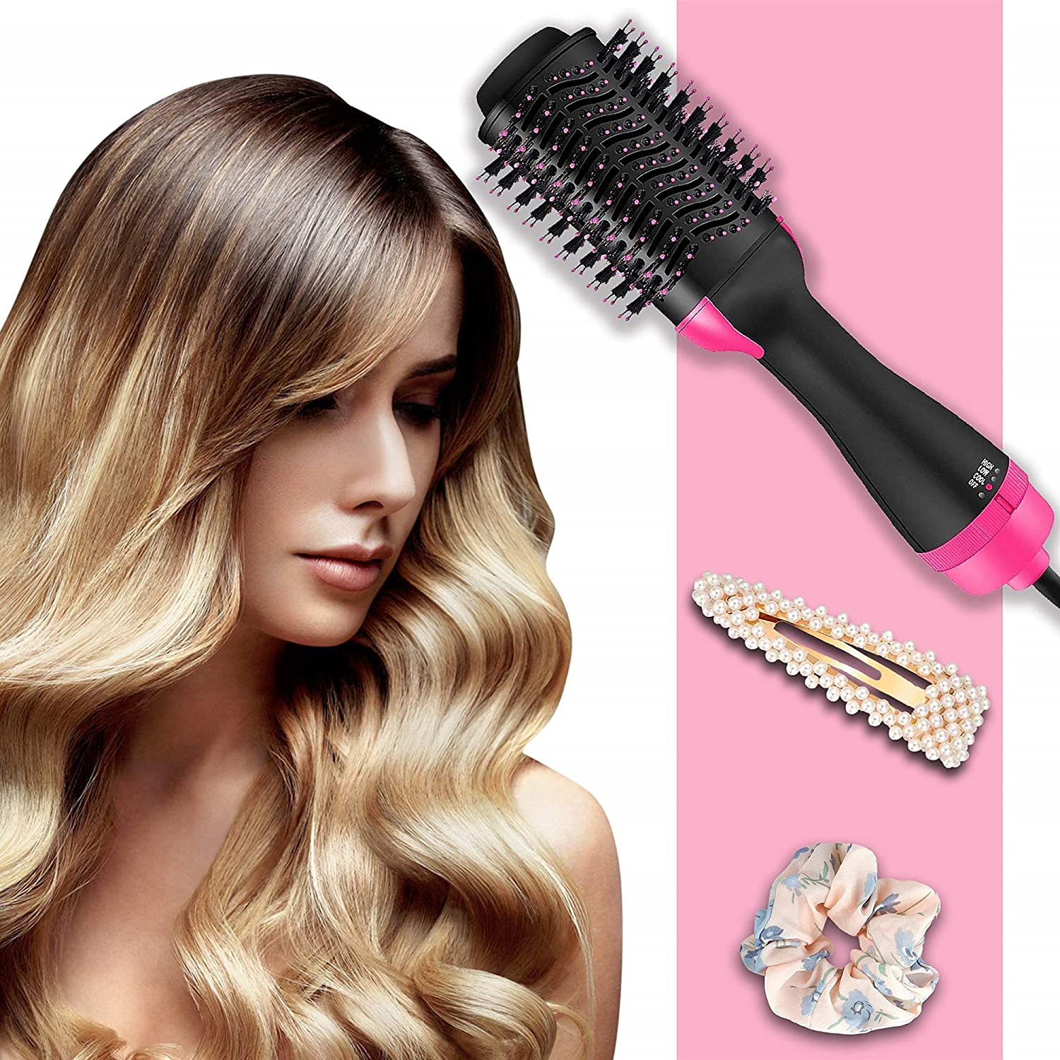 Hair Dryer Volumizer Electric Hot Air Brush Negative Ions 3-IN-1 Hair Dryer, Curler, Straightener, Blow Dryer Brush for Straightening, Curling, Styling Hair 4 Pearl Hair Clips 10 Hair Scrunchies