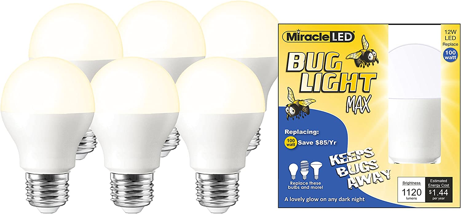 Miracle LED 604009 LED Bug Light MAX (6-Pack) Replacing 100W Old, Hot Incandescent or Yellow-Painted Bulbs, 6 Piece