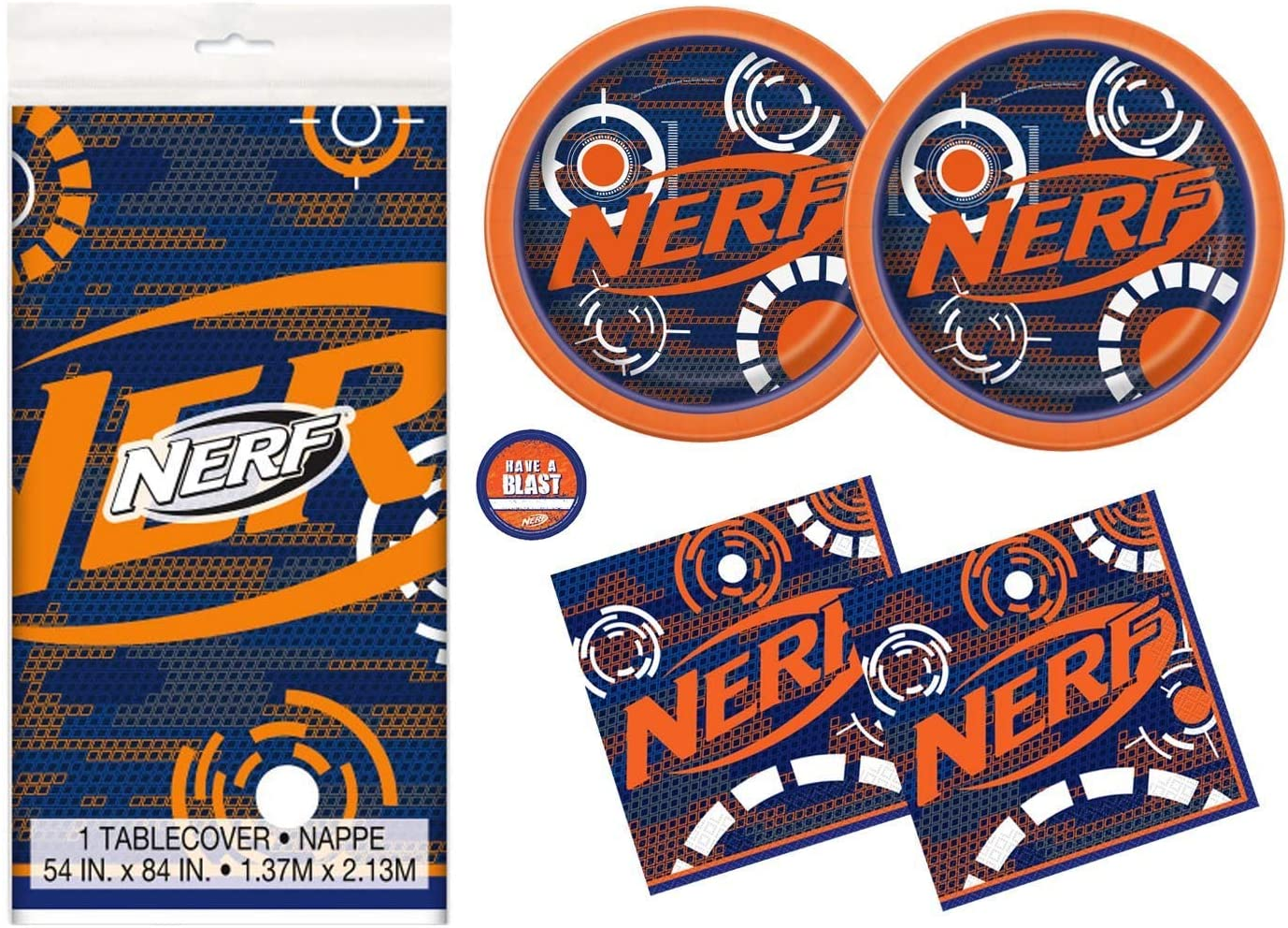 Nerf Theme Party Supplies Pack - Serves 16 - Tablecover, Plates, Napkins and Sticker: Amazon.es: Juguetes y juegos