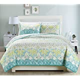 """3-Piece Fine printed Oversize (100"""" X 95"""") Quilt Set Reversible Bedspread Coverlet FULL / QUEEN SIZE Bed Cover (Aqua Blue, Sage Green, Grey)"""