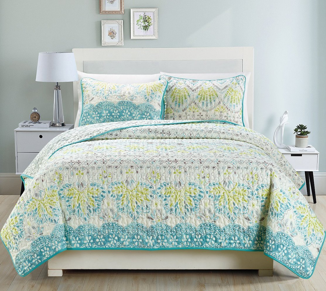 3-Piece Fine printed Quilt Set Reversible Bedspread Coverlet FULL / QUEEN SIZE Bed Cover Aqua Blue, Sage Green, Grey