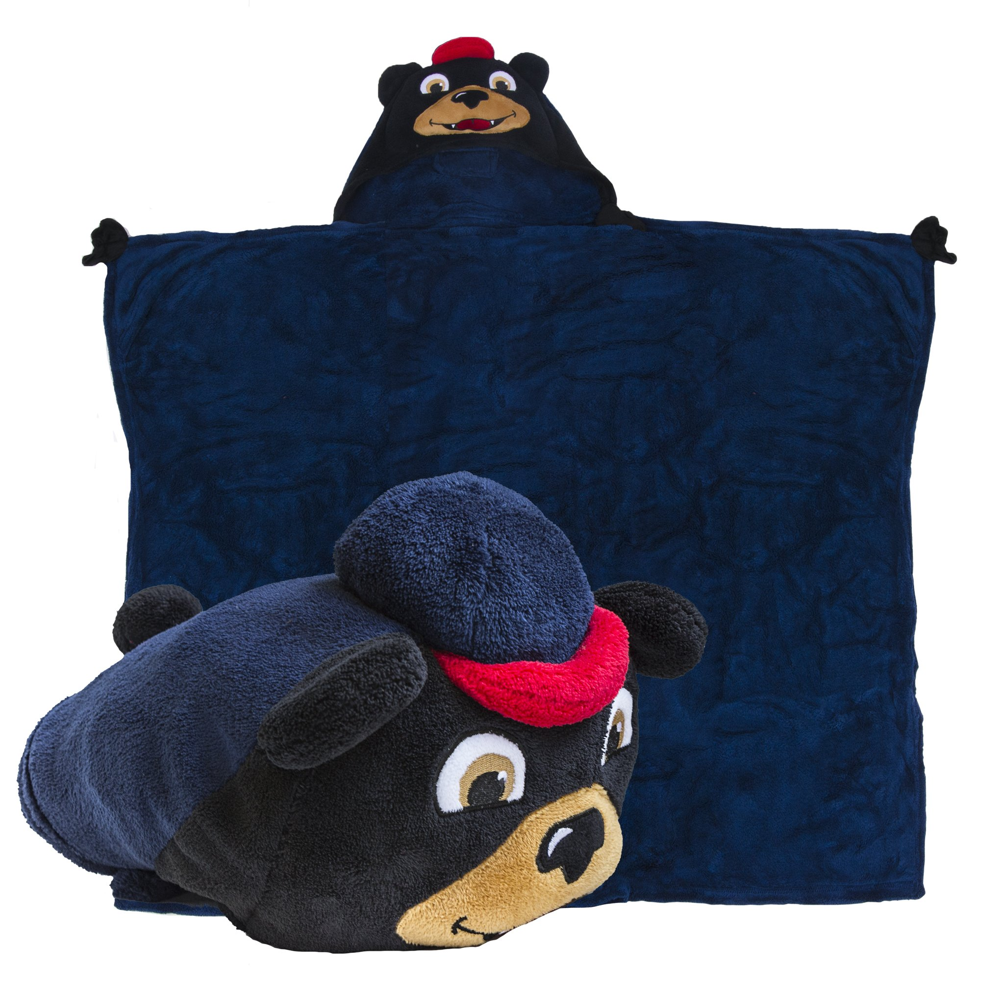 Comfy Critters Stuffed Animal Blanket – College Mascot, University of Mississippi 'Rebel the Black Bear' – Kids huggable pillow and blanket perfect for the big game, tailgating, and much more
