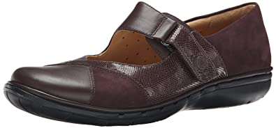 Clarks Women's Un Swan Mary Jane Flat, Dark Brown Combination Leather, ...