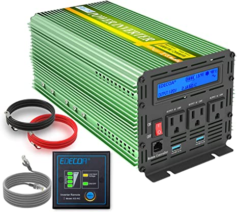 Power Inverter 1000W Pure Sine Wave Inverter 12V DC to AC with a remote control