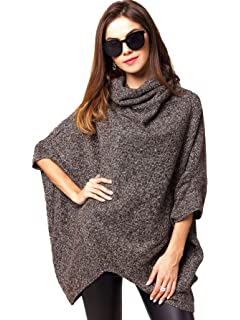 48ec051d3466 Milumia Women s Loose High Neck Knit Chic Pullover Poncho Sweaters Jumper