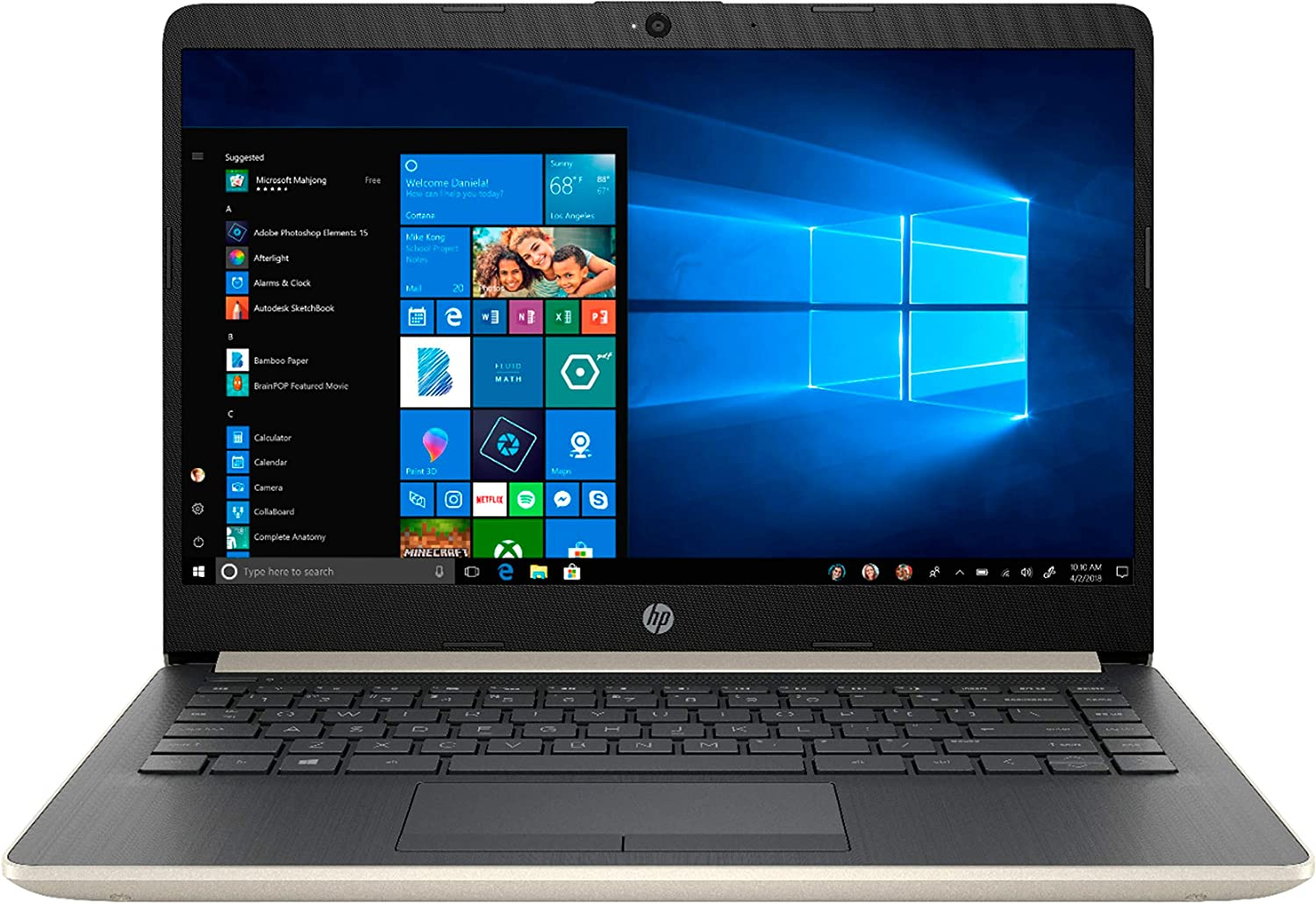 2020 Newest HP 14 inch BrightView WLED-Backlit Laptop, 10th Gen Intel Core i5-1035G1 1.0 GHz up to 3.6GHz, 8GB RAM, 256 GB SSD+16GB Optane, WiFi 802.11ac, Bluetooth, Windows 10 Home, Pale Gold