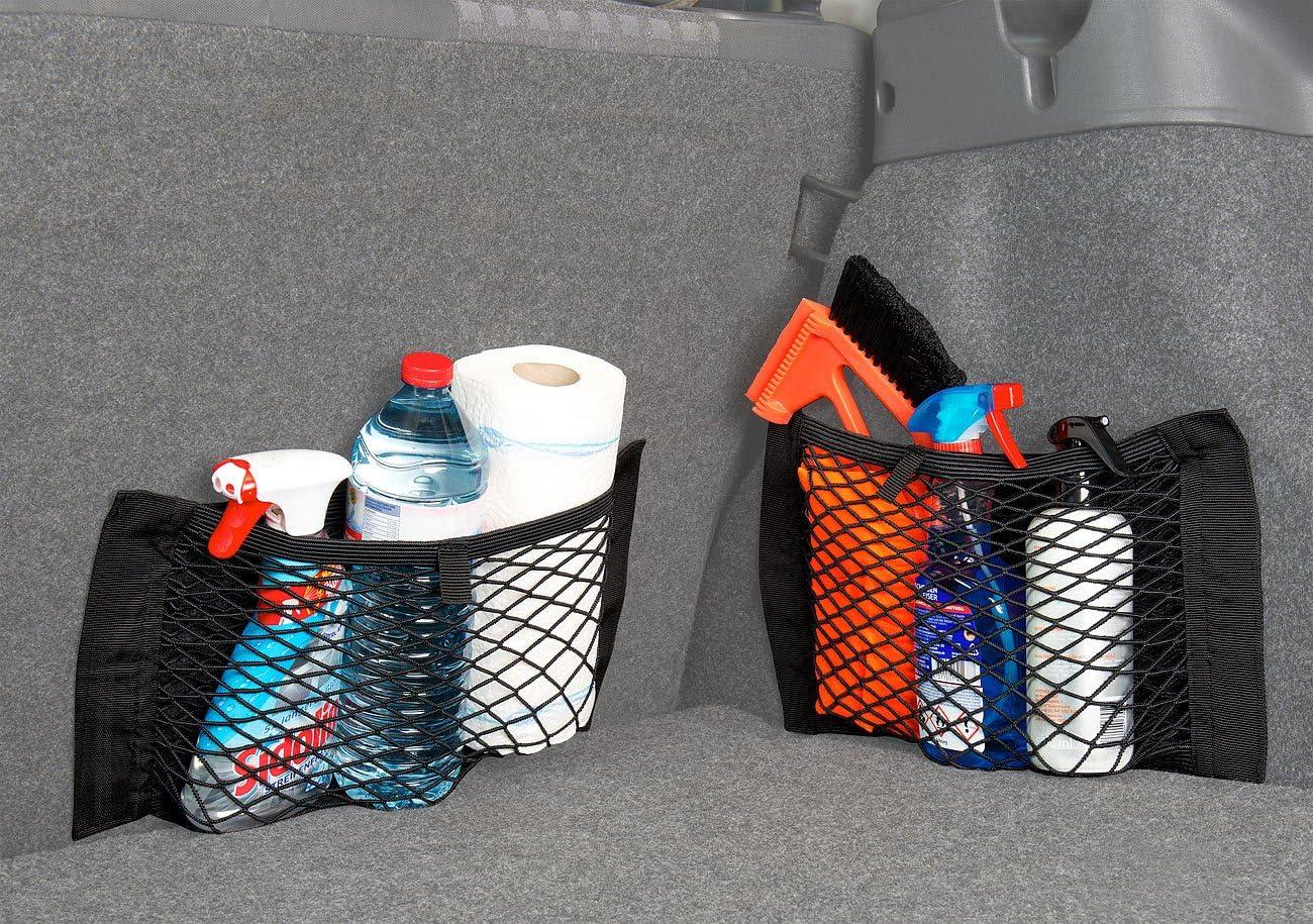 elastisch 25 x 40 cm Lescars 4er-Set Universal-Aufbewahrungsnetz