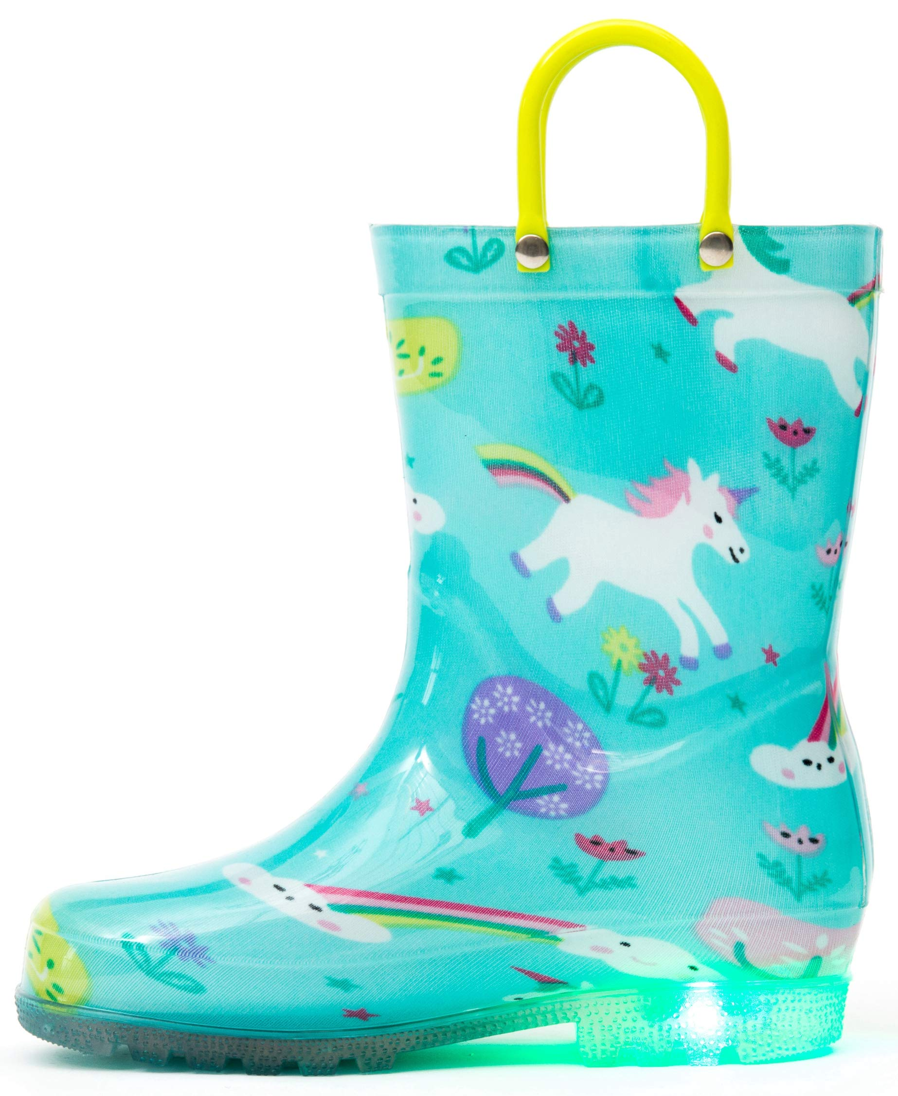 Outee Little Kids Toddler Boys Girls Light Up Rain Boots Printed Waterproof Shoes Lightweight Cute Green Unicorn with Easy-On Handles and Insole (Size 11,Green)