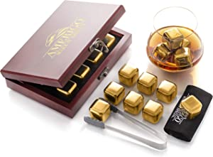 Amerigo Gold Stainless Steel Whiskey Stones Gift Set in Beautiful Wooden Box - Reusable Ice Cubes for Drinks - Bar Accessories - Whiskey Rocks - Whisky Gifts for Men - Chilling Stones + Ice Tongs