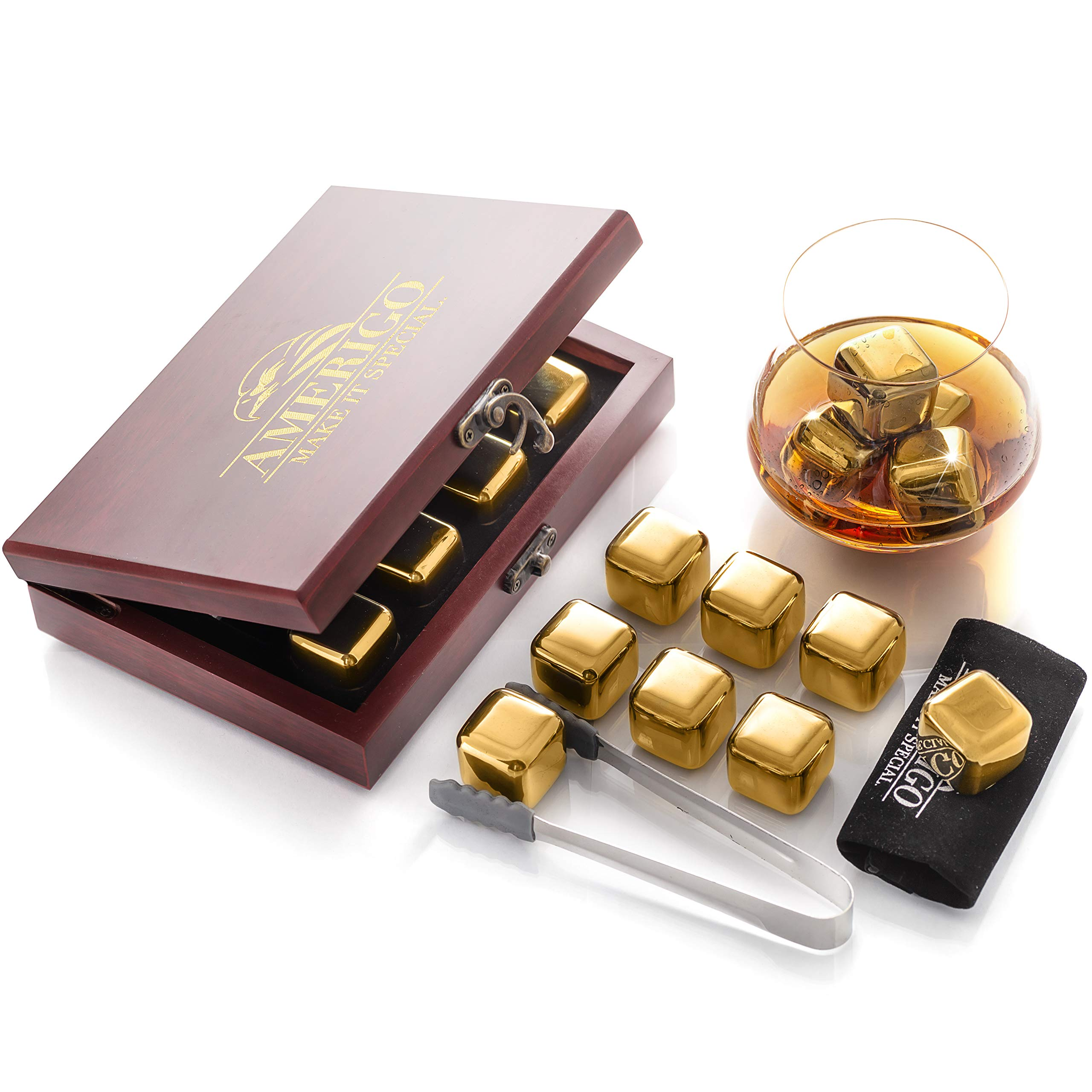 Amerigo Gold Stainless Steel Whiskey Stones Gift Set in Beautiful Wooden Box - Reusable Ice Cubes for Drinks - Bar Accessories - Whiskey Rocks - Whisky Gifts for Men - Chilling Stones + Ice Tongs by Amerigo