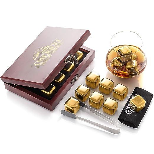Amazon.com: Amerigo - Juego de piedras de whisky de acero ...