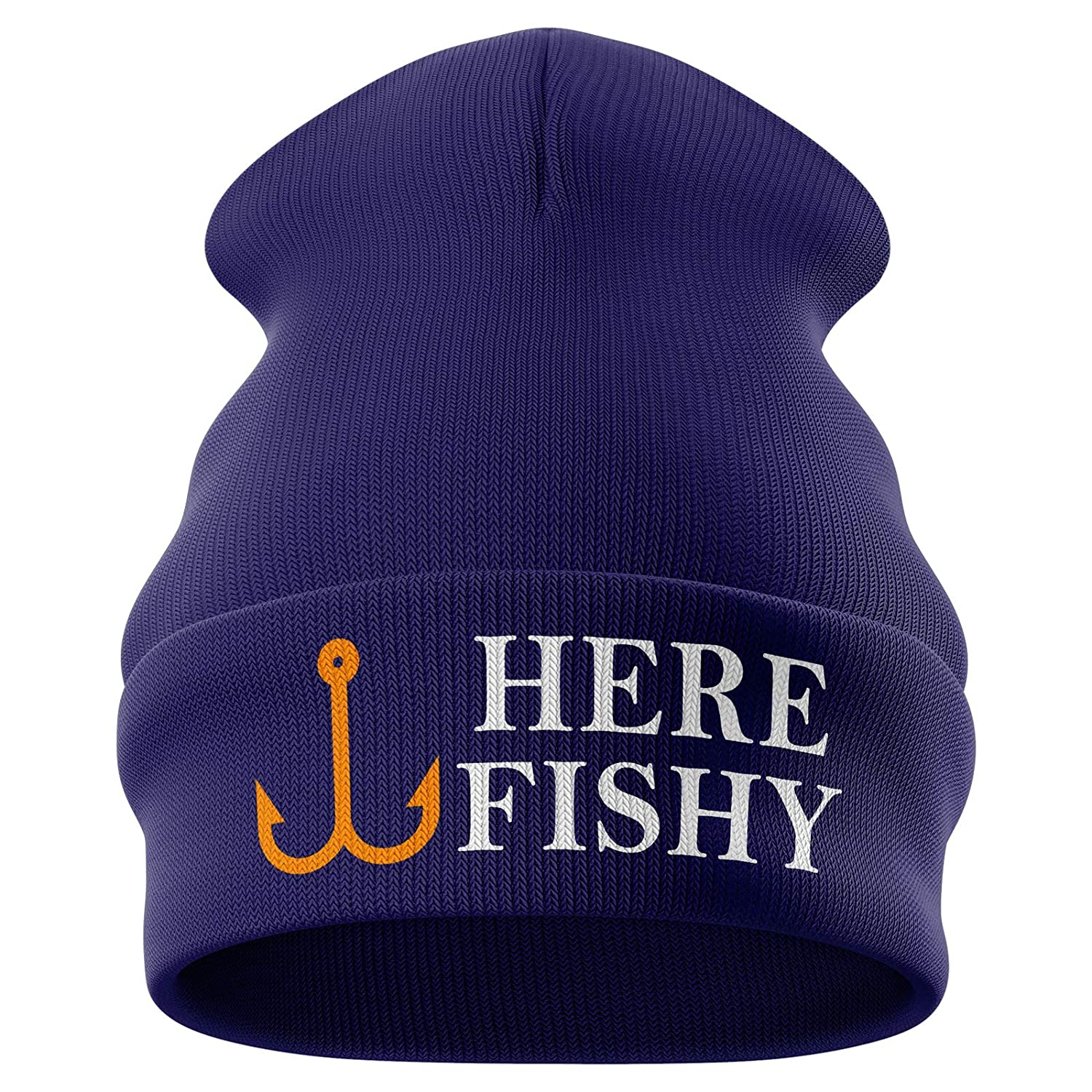 Purple Print House Fishing Gifts for Men - Here Fishy Fishy Embroidered Carp Fishing Beanie Hat Mens Presents Funny Fishing Tackle