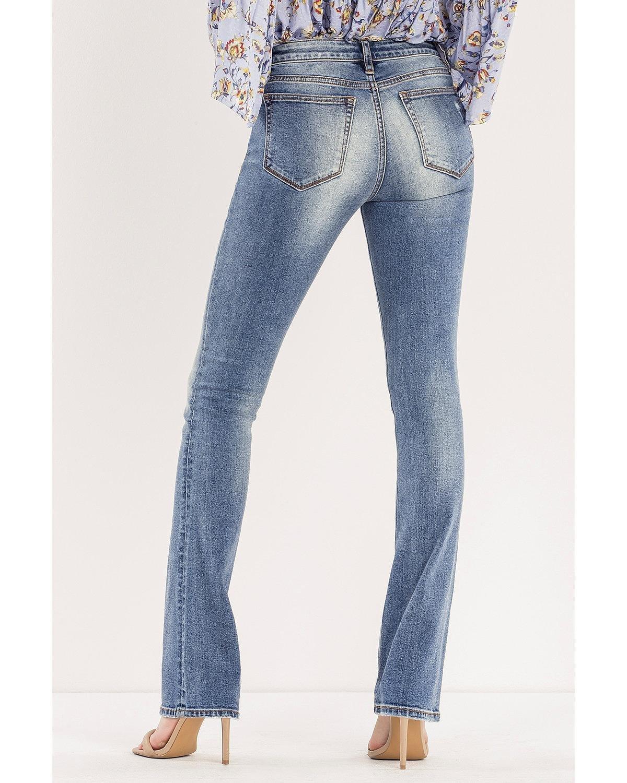Miss Me Women's So Torn Mid-Rise Slim Boot Cut Jeans Indigo 31
