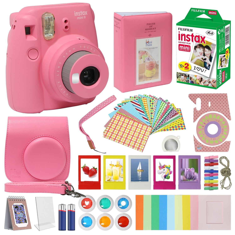 Fujifilm Instax Mini 9 Camera Flamingo Pink Accessory kit for Fujifilm Instax Mini 9 Camera Includes Instant camera Fuji Instax Film 20 pack Instax Case with strap Instax Album + Frames lenses + more by MiniMate