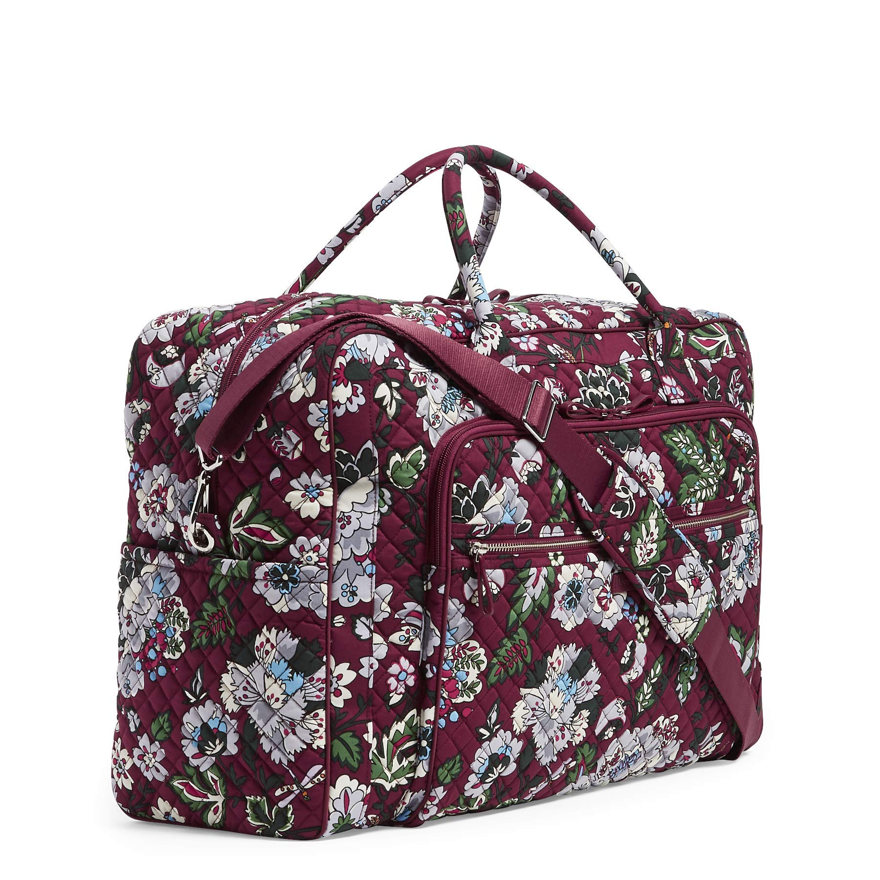 Vera Bradley Iconic Grand Weekender Travel Bag, Signature Cotton, bordeaux blooms by Vera Bradley (Image #5)