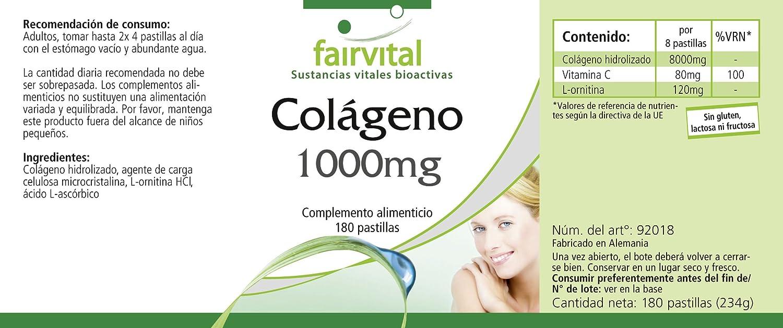 Colágeno - para 20 días - Alta dosificación - 180 comprimidos - con Vitamina C y L-ornitina: Amazon.es: Salud y cuidado personal