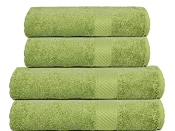 TRIDENT Soft and Light 100% Combed Cotton 400 GSM 4-Pieces (Bath & Hand)  Towel Gift Set, Green