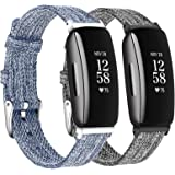 LORDSON Watch Bands Compatible with Fitbit Inspire 2 & Inspire HR & Inspire, 2-Pack Soft Woven Fabric Breathable Replacement