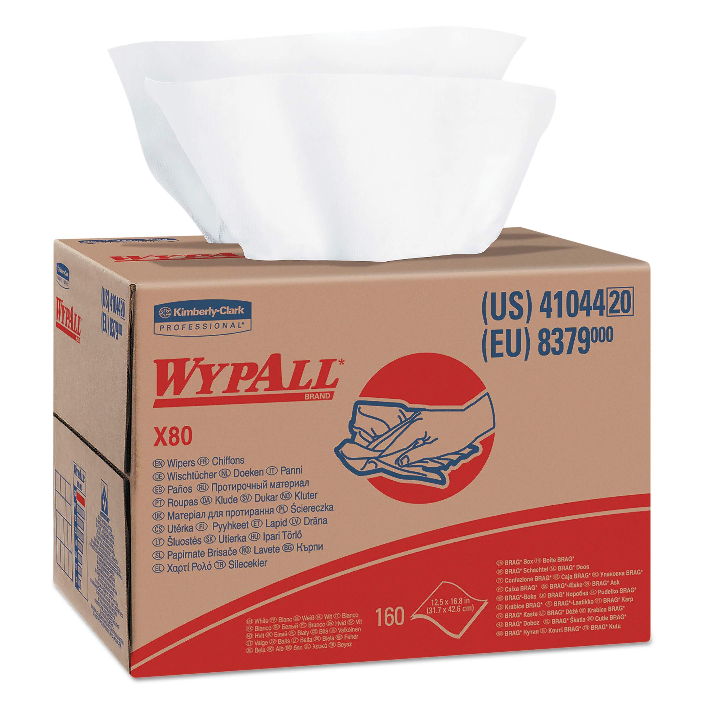 WypAll 41044 X80 Cloths, HYDROKNIT, BRAG Box, White, 12 1/2 x 16 4/5 (Box of 160)