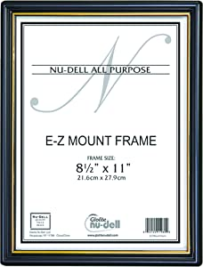 """NuDell (18) 8.5"""" x 11"""" Economy EZ Mount Document Frame with Plastic Face VALUE PACK, Black w/ Gold Trim"""