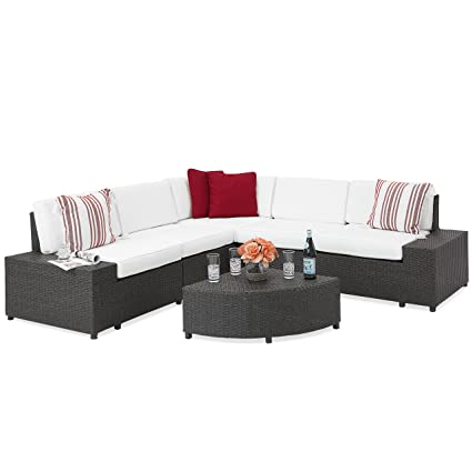 Best Choice Products 6-Piece Wicker Sectional Sofa Patio Furniture Set w/ 5  Seats, Corner Coffee Table, Padded Cushions, No Assembly Required - Gray