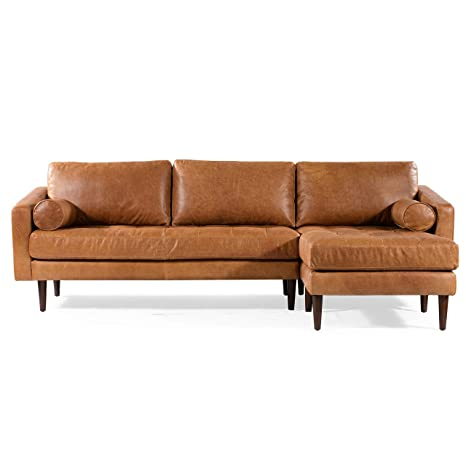 Remarkable Poly Bark Napa Right Sectional Modern Leather Sofa In Cognac Tan Ocoug Best Dining Table And Chair Ideas Images Ocougorg
