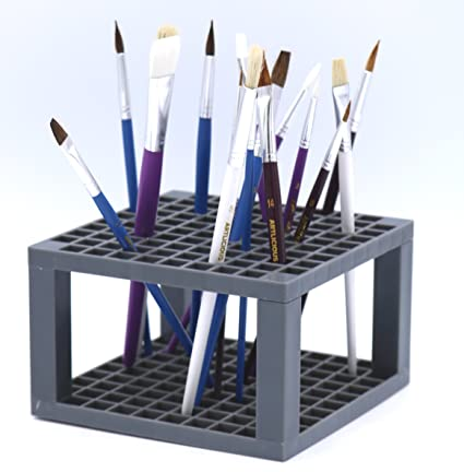 Multi Bin Art Brush Organizer 96 Hole Plastic Pencil & Brush Holder Colored  Pencils Markers - Desk Stand Organizer Holder Fits Paint Brushes Dryer