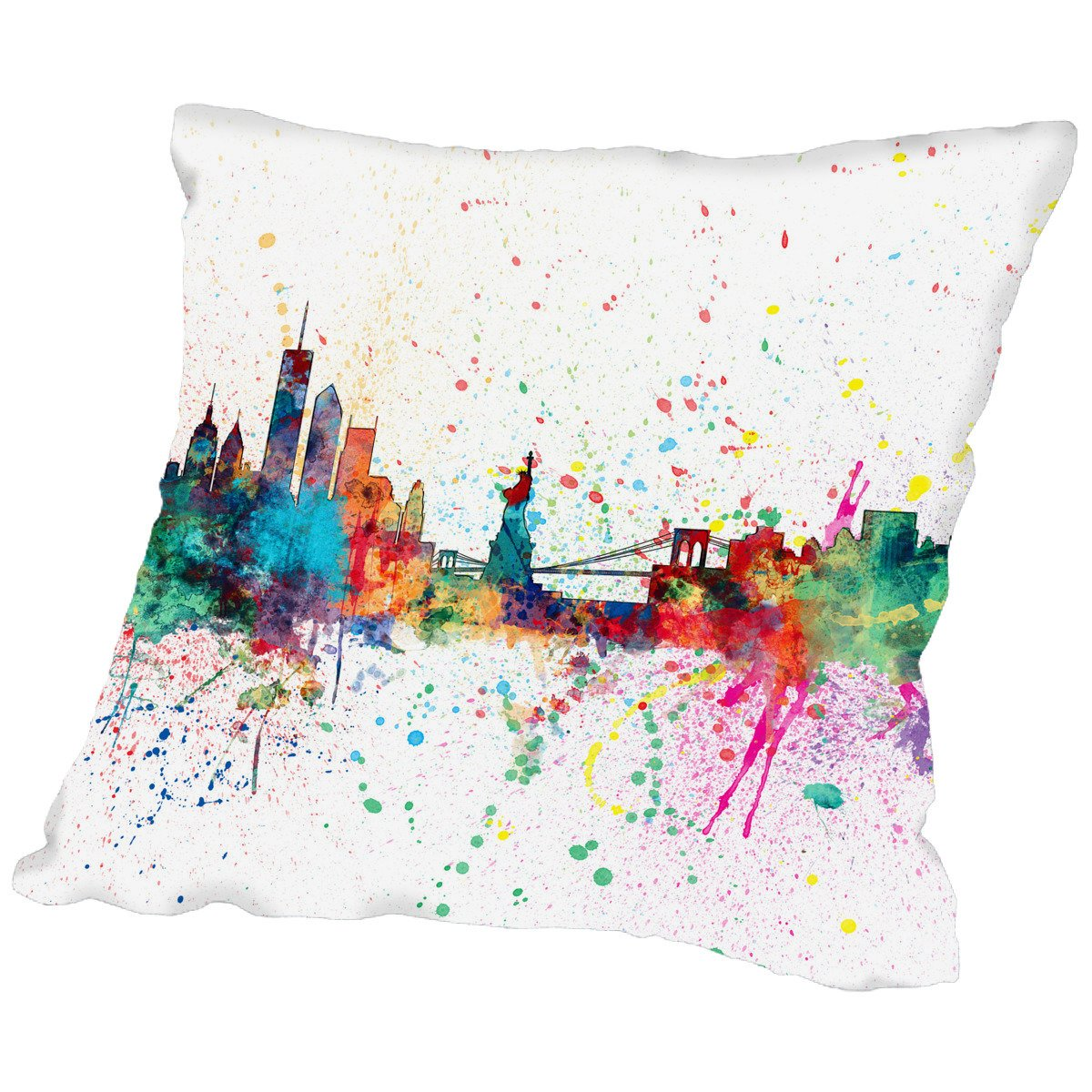 American Flat New York Skyline Art Pause pillow by Michael Tompsett, 16'' x 16''
