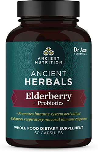 Elderberry Probiotics, 720mg, Ancient Herbals Black Elderberry Capsules, Formulated by Dr. Josh Axe, Immune System Support, Whole Food Dietary Supplement, Made Without GMOs, 60 Capsules
