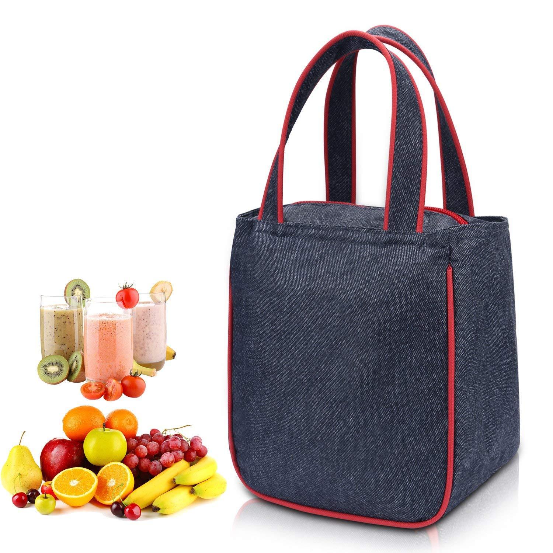 WAWJ Borsa porta pranzo uomo, Oxford impermeabile borsa termica pranzo ufficio per donna, bambini, studenti (Blu)
