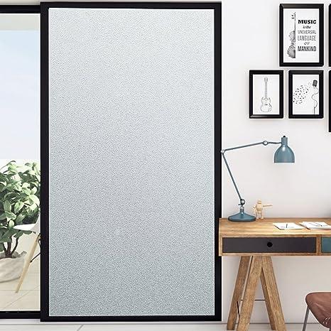 Wopeite Ventana de privacidad Película no Adhesiva Esmerilado, película Blanca Helada, Anti UV, Manchado de Vidrio para el baño en casa Oficina Sala de reunión Sala de Estar 17.7 X 78.7 Pulgadas: