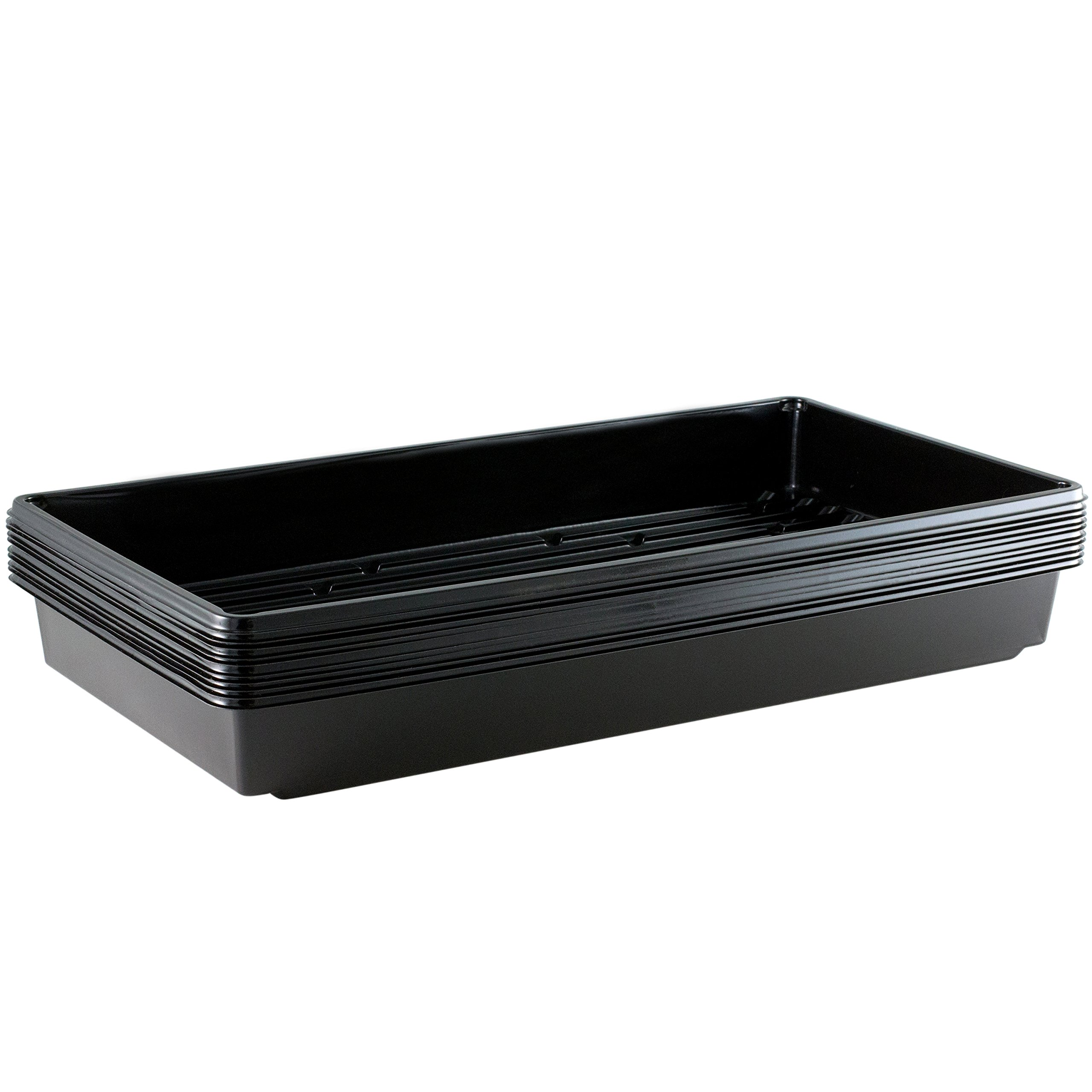 Yield Lab 10 x 20 Inch Black Plastic Propagation Tray (10 Pack) - Hydroponic, Aeroponic, Horticulture Growing Equipment by Yield Lab