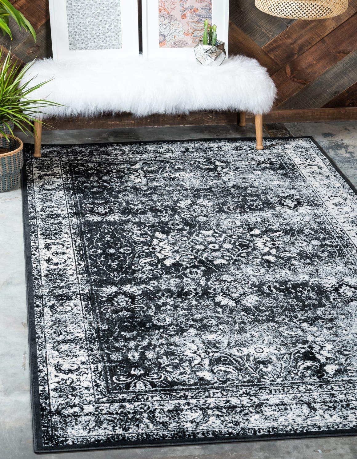 Unique Loom Imperial Collection Modern Traditional Vintage Distressed Light Gray Area Rug 5 0 x 8 0