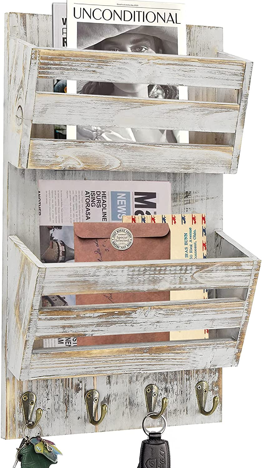 Rustic Mail Organizer for Wall, Hanging Mail Holder Wall Mounted with Key Hooks, Key Holder for Wall with Mail Sorter, Bill Magazine Holder for Entryway Hallway Kitchen Gray