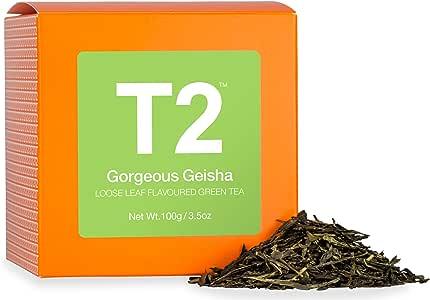T2 Tea Gorgeous Geisha Loose Leaf Green Tea in Gift Cube 100 g, 1 x 100 g