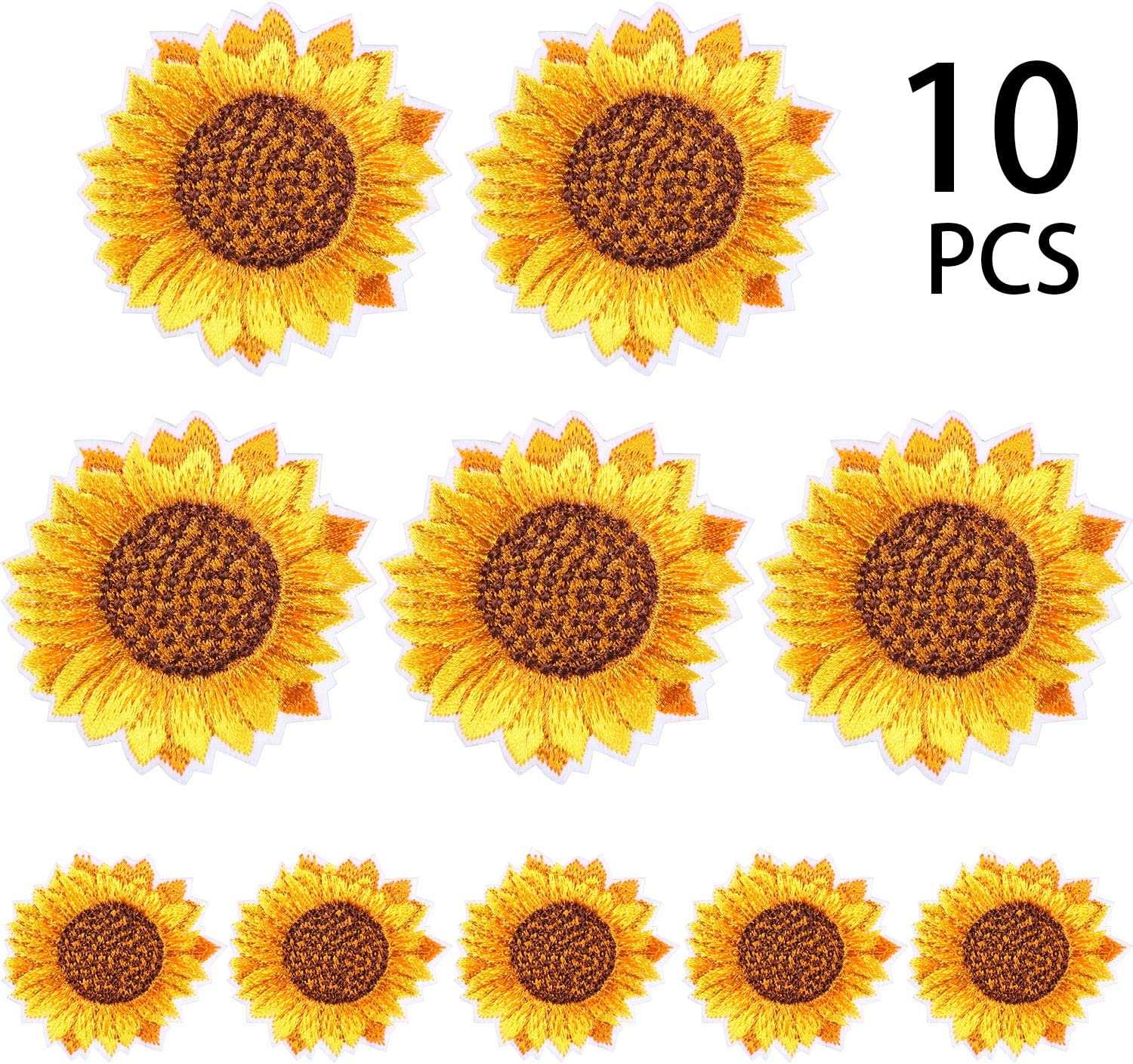 10 Pieces Sunflower Embroidery Patches Iron und Sew auf Applique Badge für Clothes Jeans Jacket Hut Dress Diy Accessories