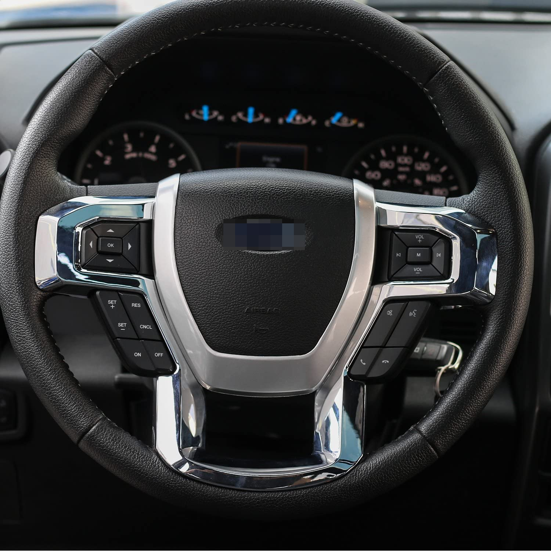 JeCar Steering Wheel Trim Bezel Cover Trim Frame Decorative Interior Accessories for Ford F150 F250 F350 2015 2016 2017 Super Duty Black Wood Grain