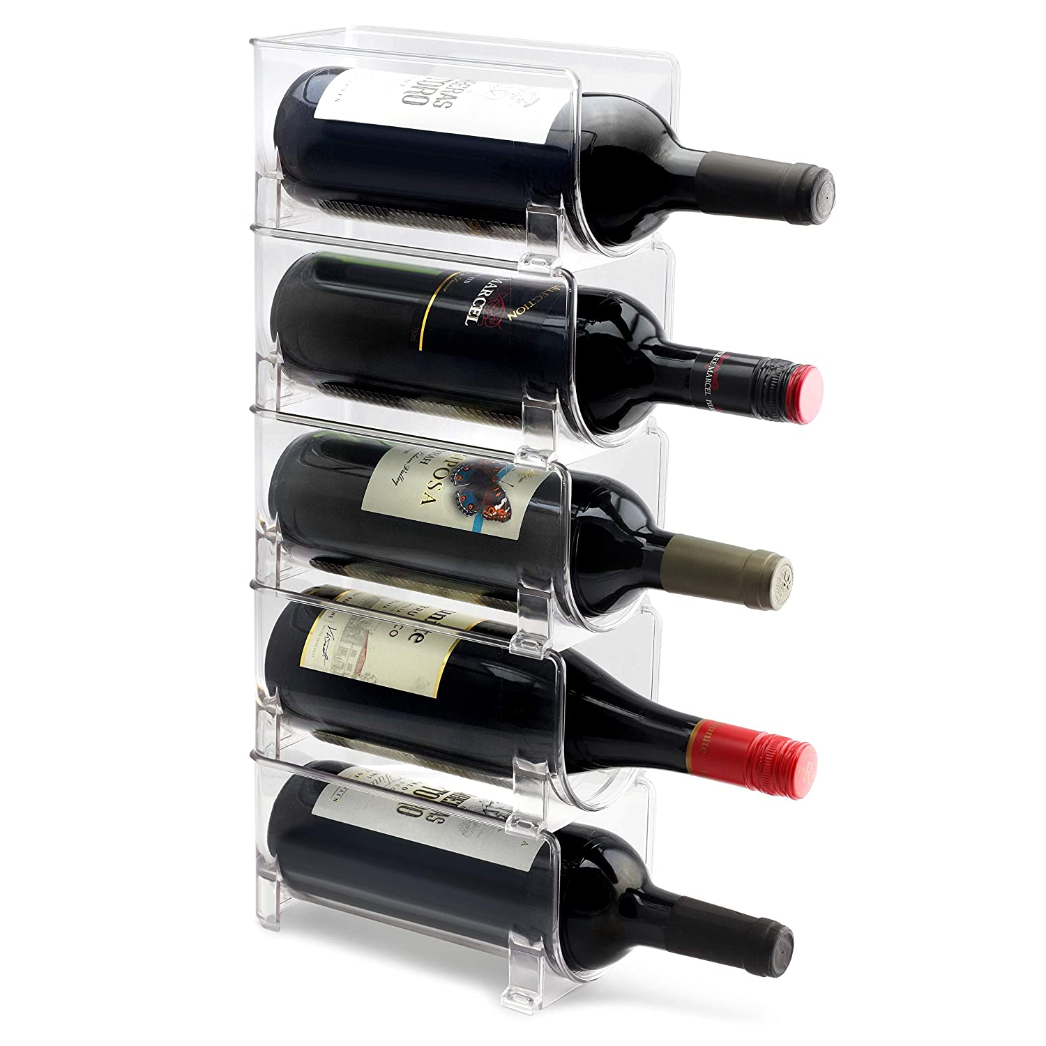 ELTOW Modular Wine Rack (5-Pack) Stackable Display and Storage System | Clear, Heavy-Duty PET Plastic | Home Kitchen, Bar, Countertop, or Dining Room Use