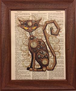 Steam Punk Cat Dictionary Book Page Artwork Print Picture Poster Home Office Bedroom Nursery Wall Decor - unframed