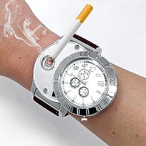 ArcWatch Men's Stylish Flameless Windproof USB Cigarette Lighter/Watch   Heat Coil Ignition   Quartz Timepiece (Military Brown Strap)