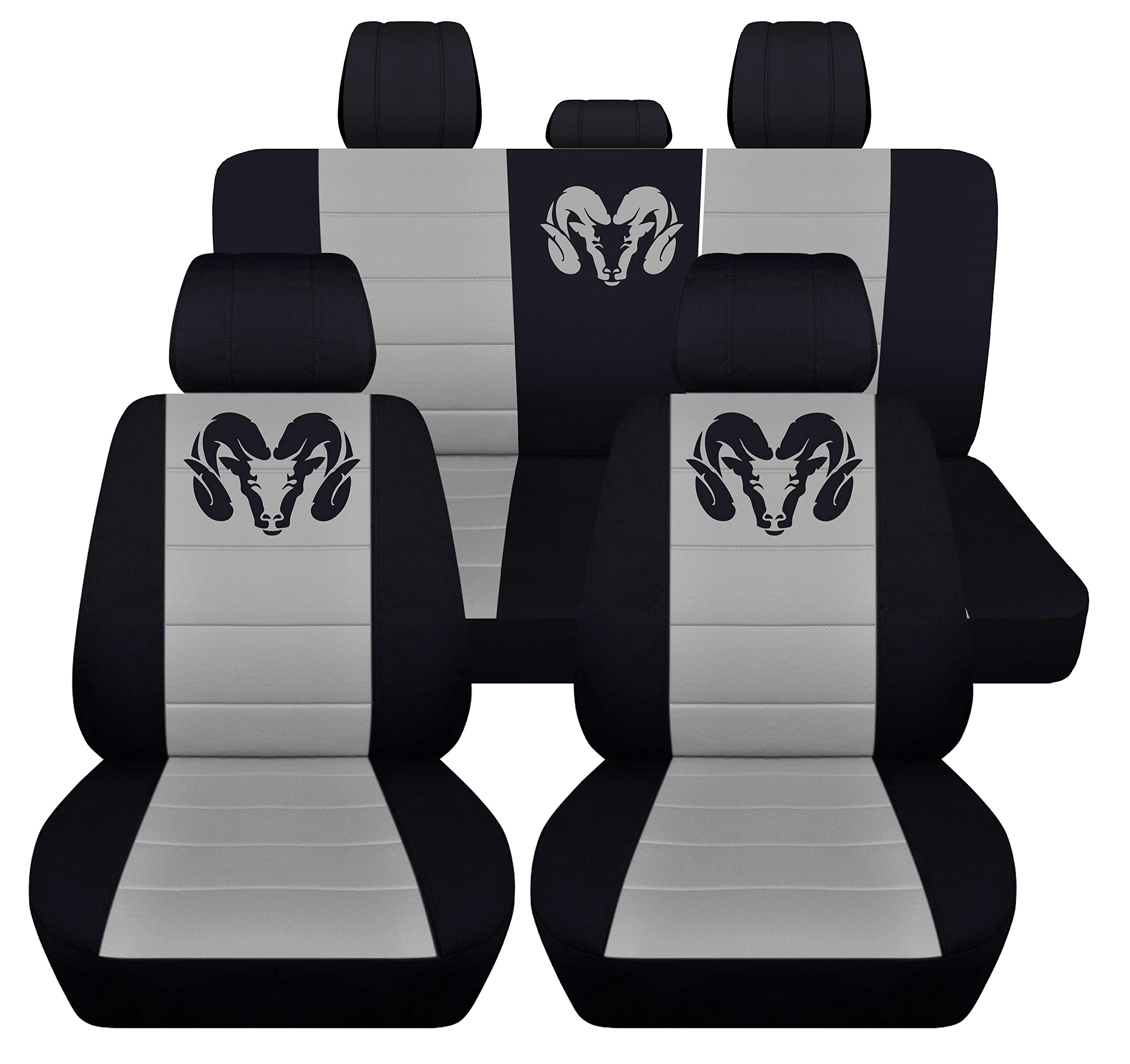 Fits 2012 to 2018 Dodge Ram Front and Rear Ram Seat Covers 22 Color Options (40-60 Rear, Black Silver) by Designcovers
