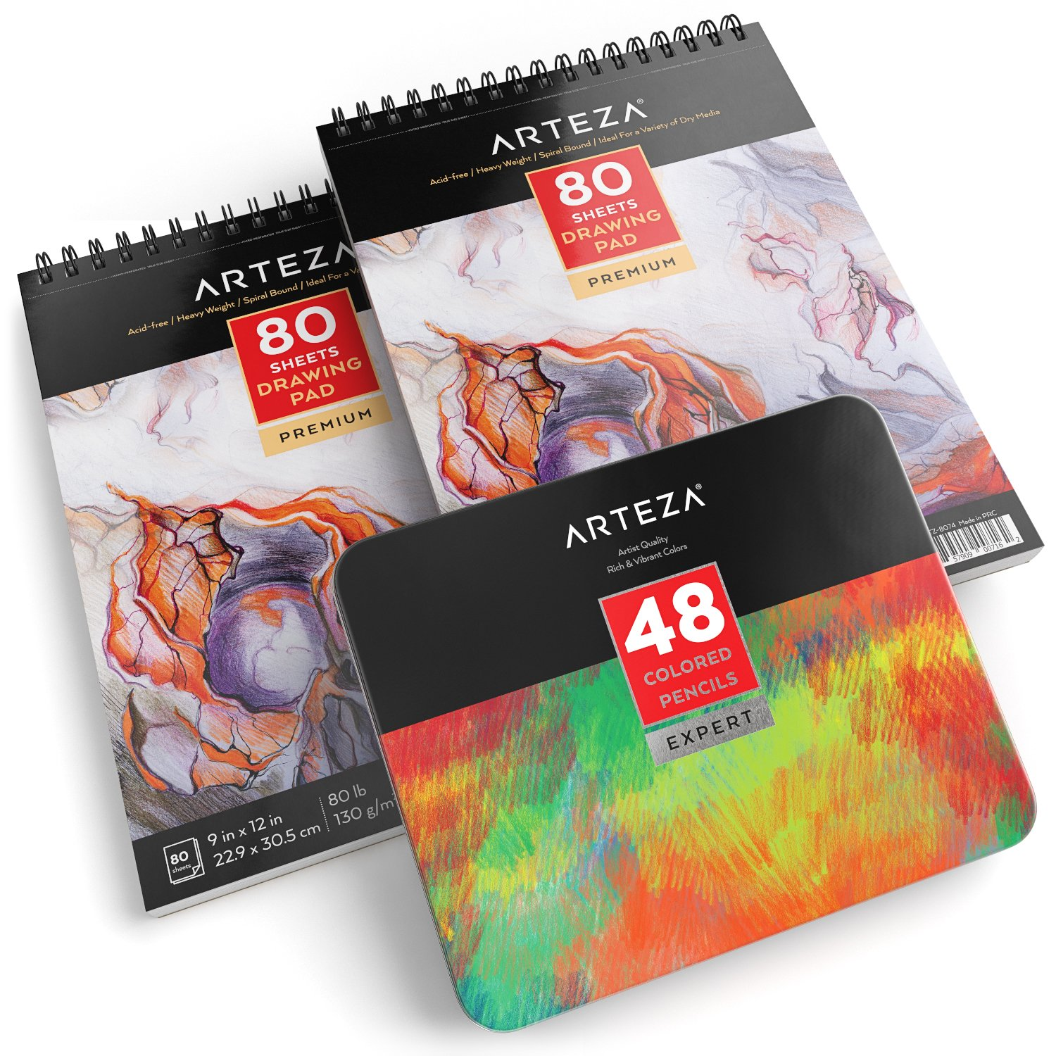 ARTEZA Drawing Bundle, Professional Colored Pencils Set of 48 and 9''x12'' Drawing Pad Pack of 2