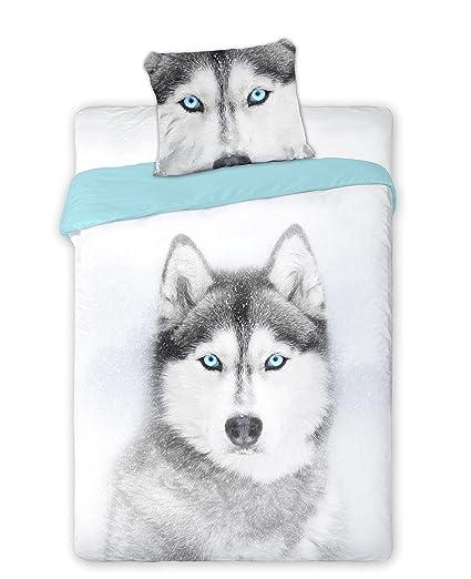 Wild Perro Husky Juego Sábanas Cama Individual (funda nórdica 160 x 200 algodón ropa de