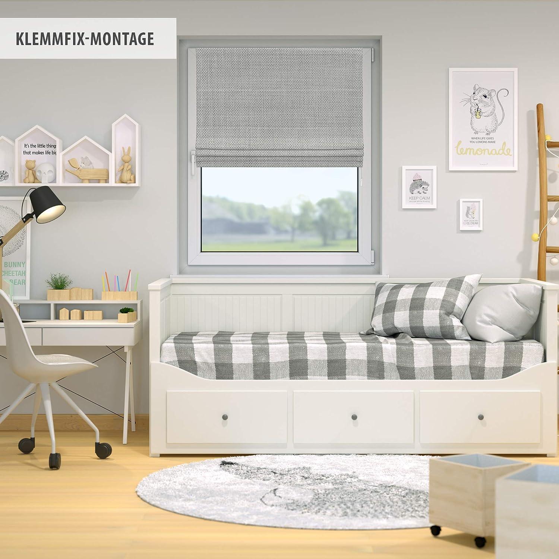 Victoria M Ivora Klemmfix Store Romain 100 x 175 cm Store Bateau sans per/çage Blanc