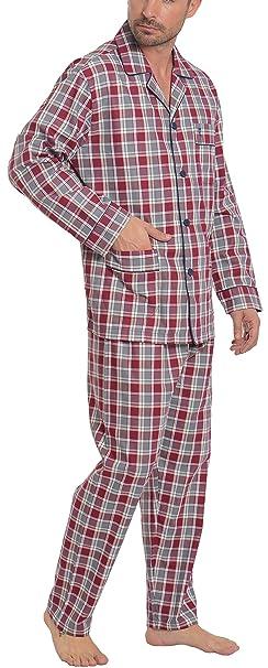 Pijama de Caballero | Pijama de Hombre de Manga Larga clásico a Cuadros y Finas Rayas