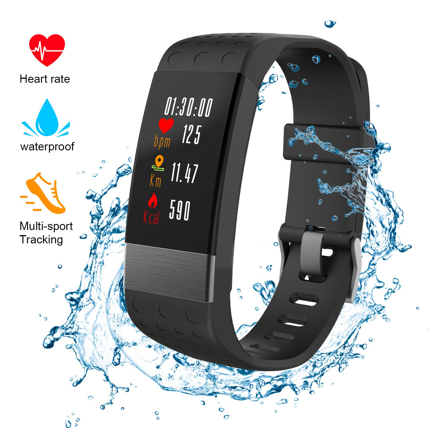 NickSea Fitness Tracker, Heart Rate Monitor Color Screen Smart Watch with Sleep Monitor, Step Counter, Message Reminder, IP67 Waterproof Activity Tracker for Android&iOS Smart Phone