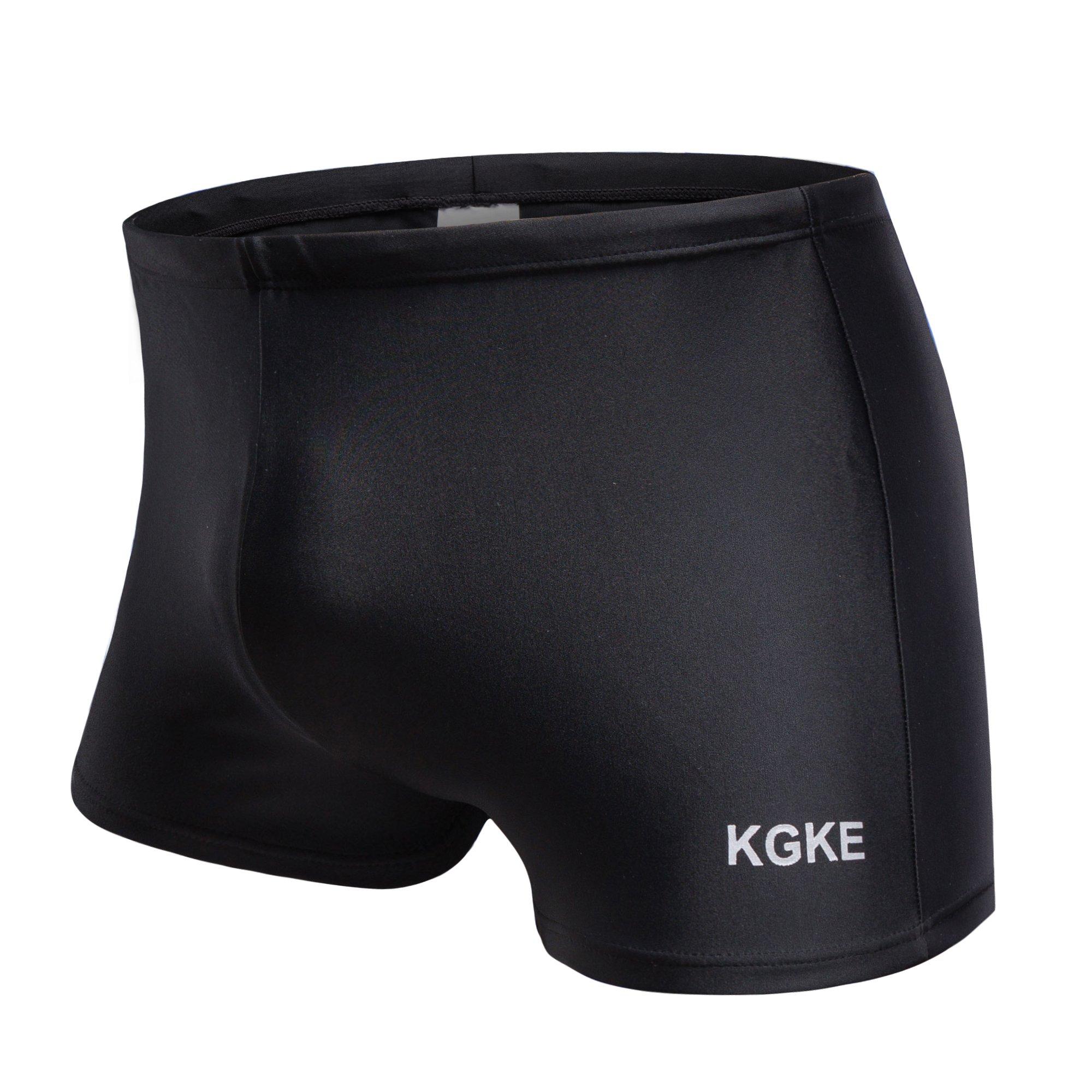 KGKE Swim Boxer Briefs Short Swim Jammer by Nylon Racer Mens Square Leg Swimsuit (Black, L)