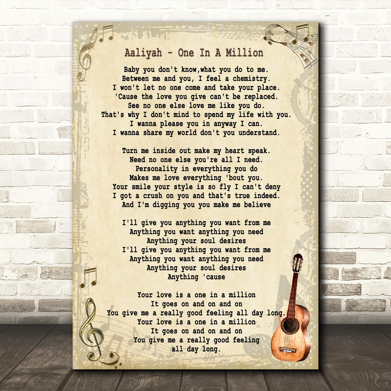 Fingerprint Designs One In A Million Song Lyric Quote Print