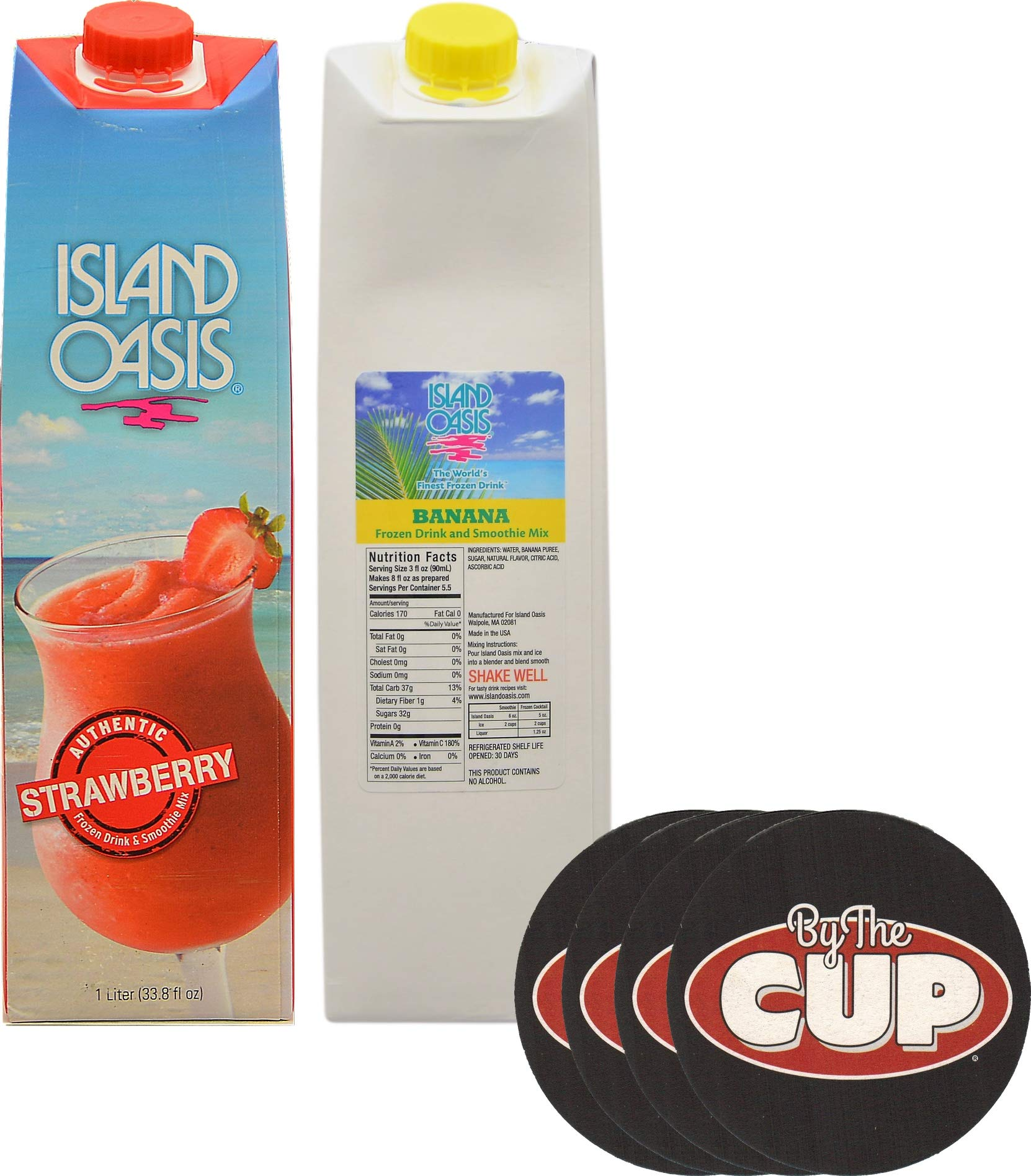 Island Oasis Drink Mix Variety, Strawberry and Banana 1 Liter Each, with Set of By The Cup Coasters